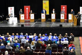 All seven candidates in the riding of Sydney-Victoria took to the Centre 200 stage for a debate in front of an estimated crowd of 300 people at the Sydney venue on Thursday. From left: Lois Foster (Green Party), Archie MacKinnon (Independent), Jodi McDavid (NDP), Eddie Orrell (Conservative), Jaime Battiste (Liberal), Randy Joy (Veteran's Coalition Party of Canada) and Kenzie MacNeil (Independent). JEREMY FRASER/CAPE BRETON POST
