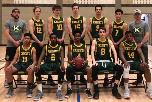 The Holy Trinity High School basketball team and their head coach, Coxheath native Aaron Barrington, are ready to play in the 36th annual Coal Bowl. The official opening ceremonies were set for 7 p.m. Monday. Pictured above is the entire Holy Trinity team. Back row, from left, Barrington, O'rian MacDonald, Luke Foster, Donovan Faucett, Majd Daqqa, Vergel Pagalilaun and assistant coach Chris McKenzie; front row from left, Ehsan Maawia, Gray Mugodo, Nas Jamac, Mitch Garland and Adam Bank-Imudia.