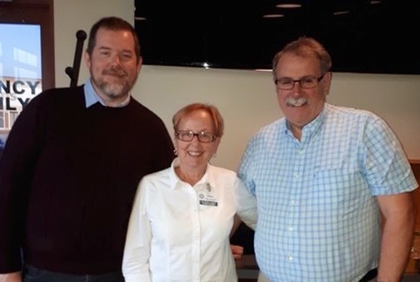 Guest speakers are often on the agenda at the Sydney-Sunrise Rotary Club and on Oct. 31 it was Mike MacSween, executive director of the Celtic Colours International Festival. From left, MacSween, club president Linda Crockett and John Malcom, who introduced the guest speaker.