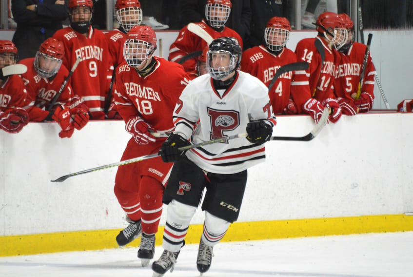 Cameron Yates, right, of the Glace Bay Panthers is seen during a regular season game of the Cape Breton High School Hockey League. The Panthers are set to host the 2017 Panther Classic on Thursday at the Canada Games Complex at Cape Breton University. CAPE BRETON POST PHOTO