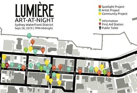 This map of Sydney's downtown core shows where the art installations will be during this year's Art At Night event on September 28, 7 p.m. until midnight.