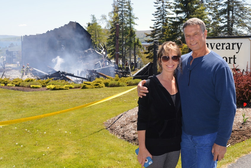 """Sheila Theriault and partner Ruben Tompkins had stayed at the Inverary Resort two days earlier and has come back to Baddeck on Thursday in hopes of grabbing a bite to eat at the Inverary Resort. They were """"shocked and surprised"""" to discover the main lodge had been destroyed in a fire."""