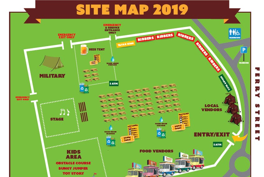 Site map for Rotary Ribfest 2019.