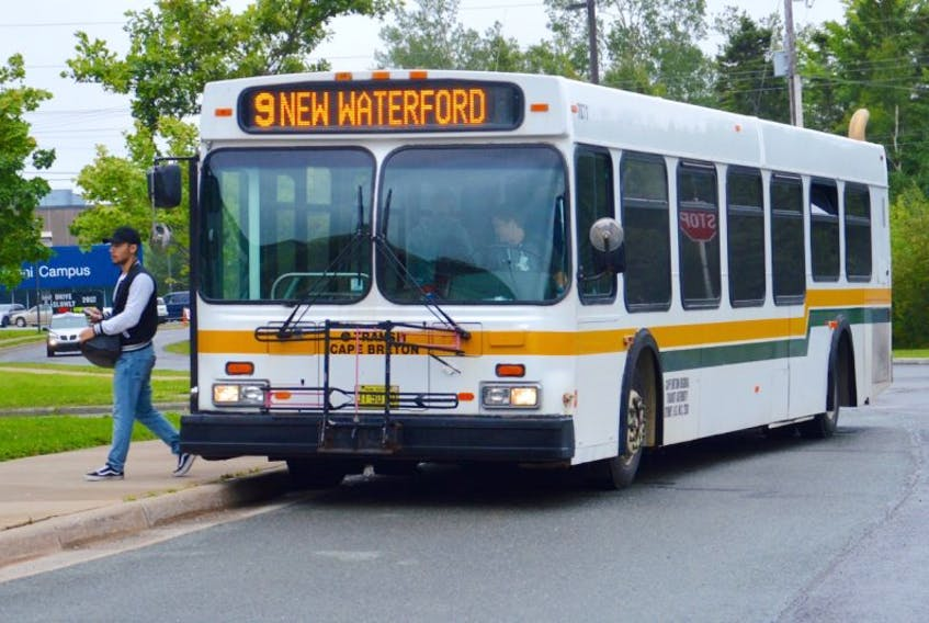 The Route 9 bus bound for New Waterford makes a stop Thursday at Cape Breton University, where students from both CBU and the NSCC can access the Cape Breton Transit service. The municipality announced it has added routes and increased frequency on a number of runs across the CBRM.