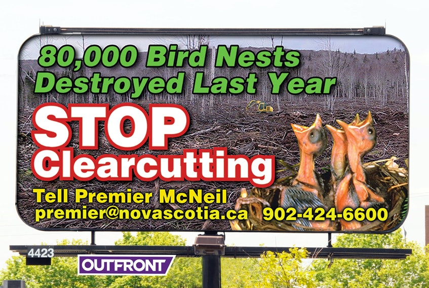 The Margaree Environmental Association paid to have three large billboards erected in and around Halifax last week to bring awareness to the destruction of wildlife and wildlife habitats.