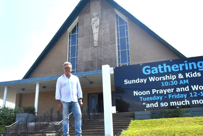 Pastor Bill Legge stands outside the former St. Anthony Daniel Catholic Church, a building that now houses the Whitney Pier-raised pastor's Cape Breton Harvest Community Church at St. Anthony's ministry. The 55-year-old Sydney church was recently targeted by vandals who threw large rocks through a number of windows.