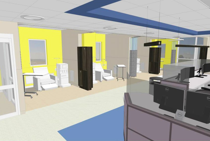 A rendering of what part of the Glace Bay hospital's renal dialysis unit will look like once completed. An Nova Scotia Health Authority official says construction is on schedule.