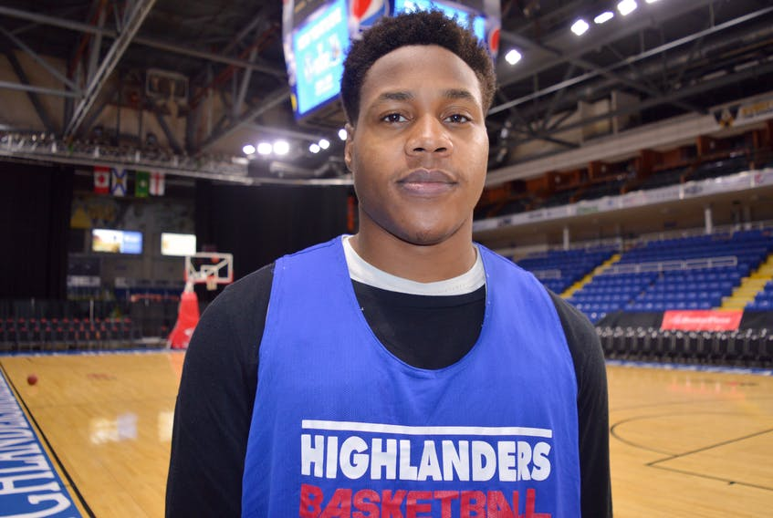Shane Osayande poses for a photo at Centre 200 on Monday. The 6-6 rookie forward is playing a key role in the paint for the Cape Breton Highlanders this season. The Highlanders host the Moncton Magic tonight and Wednesday for back-to-back games.
