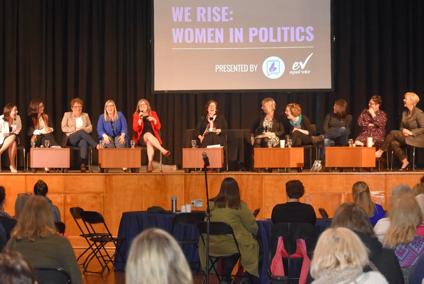 """Kendra Coombes, from left, Alana Paon, Tammy Martin, Karla MacFarlane, Brenda Chisholm-Beaton, moderator Pam Lovelace, Katherine MacDonald Snow, Amanda McDougall, Gail Christmas, Nadine Bernard and Elizabeth Smith-McCrossin attend the panel discussion """"We Rise: Women in Politics"""" on Thursday at the New Dawn Centre for Social Innovation in Sydney."""