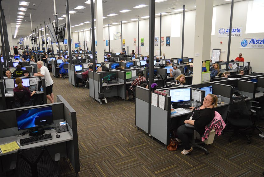 This file photo shows the interior of the Servicom building in Sydney. The company that owns the ServiCom call centre in Sydney filed for bankruptcy protection in the United States Friday morning.
