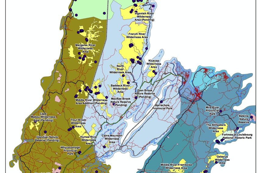 This map supplied by the Mining Association of Nova Scotia shows protected areas across Cape Breton. The association wants the province to ease regulations so it can explore 154 known mineral occurrences that are on protected land.