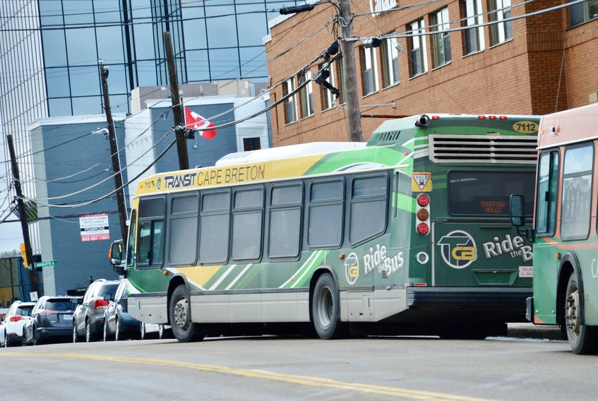 Buses line up on Dorchester Street Tuesday just before an announcement that will see six new buses added to Transit Cape Breton's fleet.