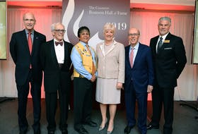 There were four new inductees into the Canadian Business Hall of Fame on Wednesday. The ceremony, which was held at the Metro Toronto Convention Centre, is hosted each year by Junior Achievement Canada. This year's inductees included North Sydney native and NRStor Inc. CEO Annette Verschuren. From left are David F. Denison, chancellor of the Order of the Canadian Business Hall of Fame; inductees Claude Lamoureux, a retired president and CEO of the Ontario Teachers' Pension Plan; Clarence Louie, chief of the Osoyoos Indian Band; Verschuren; and Stephen J.R. Smith, chairman and CEO of First National Financial Corp.; along with Scott Hillier, president and CEO of JA Canada. The hall of fame was founded in 1979 and celebrates the outstanding achievements of Canada's most distinguished business leaders. CONTRIBUTED/CANADIAN BUSINESS HALL OF FAME