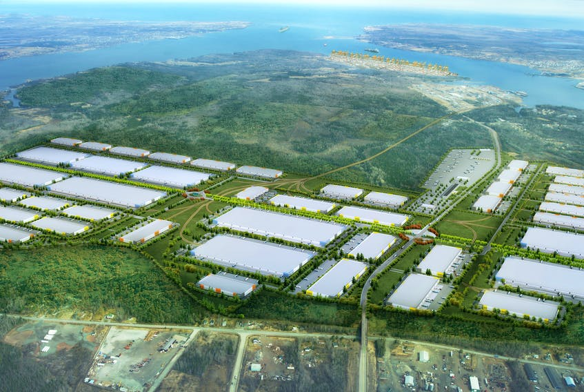 This is a conceptual image of the proposed 1,250-acre Novazone logistics park that will manage cargo once it's unloaded off ships at the proposed Novaporte container terminal in Sydney harbour. SUBMITTED IMAGE