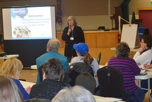 Kathy Bell, director of primary health care for the Eastern Zone of the Nova Scotia Health Authority, fielded a number of questions throughout the course of a meeting on the collaborative family practice team concept in St. Peter's on Thursday.