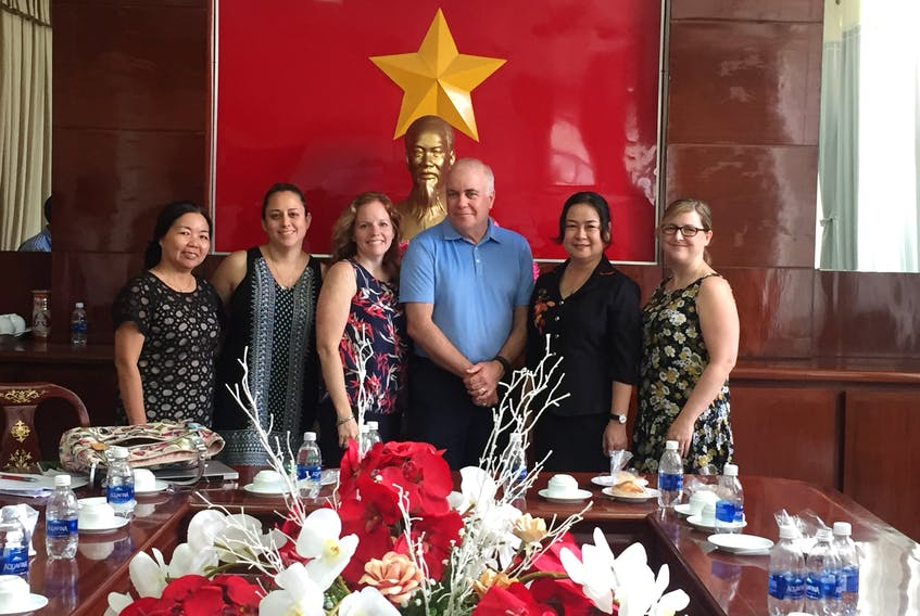 Among those taking part in meetings during an exchange to Vietnam earlier this year were, from left, vice-chief of secretariat-chief accountant Mme. Thi Vien; Coun. Perla MacLeod of Victoria County; Carla Arsenault, chief operating officer of the Cape Breton Partnership; Warden Bruce Morrison of Victoria County; president of the Association of Cities of Vietnam and Deputy Mayor of Can Tho municipality Mme. Vin; and Mayor Brenda Chisholm-Beaton of the Town of Port Hawkesbury. SUBMITTED PHOTO