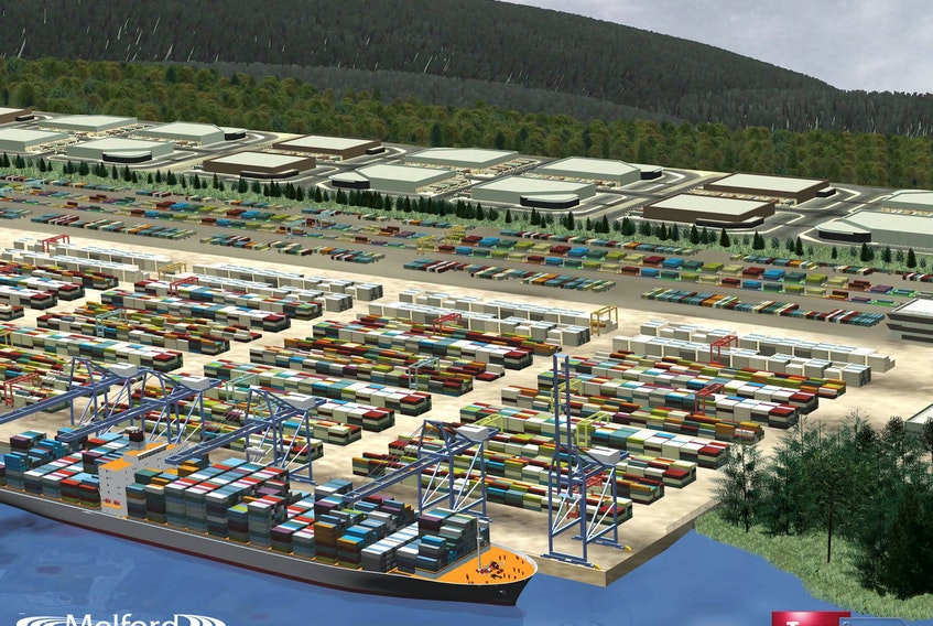 The proposed container terminal at Melford along the Strait of Canso has awarded its detailed engineering contract as well as contracted Port Hawkesbury Paper to clear the site of the proposed development. Shown above is a conceptual image of what the site might look like when it's up and running.