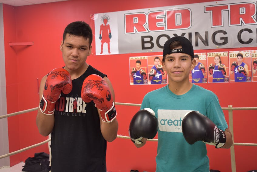 Marshall Marshall, left, and Xzorion Marshall stand in the ring prior to training for the Red Tribe Boxing card, scheduled for this weekend in Eskasoni. The 15-year-olds will both be on the card.
