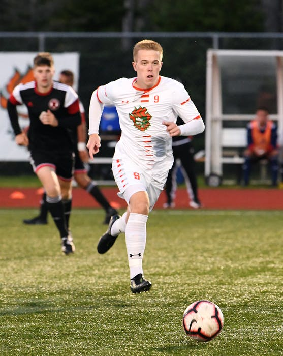 Cape Breton Capers forward Charlie Waters missed the entire 2018 AUS season with a torn ACL. VAUGHAN MERCHANT / CBU ATHLETICS