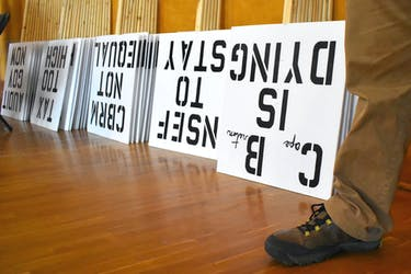 Signs made by the Nova Scotians For Equalization Fairness will be in use again during a protest in front of Sydney's provincial building today from 4-5:30 p.m.