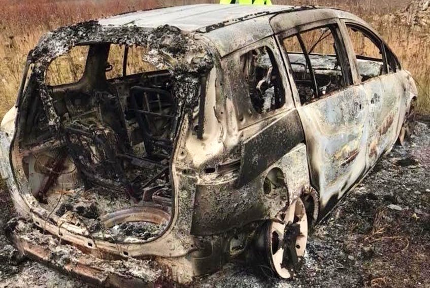Brittany Mauger found her stolen 2006 Mazda 5 on Nov. 19 burned and abandoned at the top of Steeles Hill Road in Glace Bay. Even though the car was locked and she had the keys, thieves were able to steal it from her home while she slept.