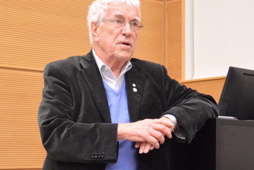 """Silver Donald Cameron fielded questions from the audience after he presented his documentary """"Green Rights: The Human Right to a Healthy World"""" at Cape Breton University on Tuesday"""