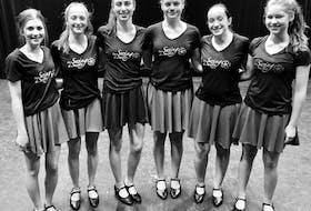 La Swing du Suête dancers on the Barra MacNeils' tour includeHailey Fiset, Louise Aucoin, Lilianne Cormier,Makenna Bourgeois, Emily LeBlanc and Emilie Doucet.