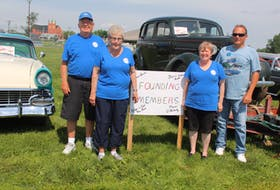 The Cape Breton Antique and Custom Car Club held its annual Show and Shine event in Whitney Pier on Sunday. Pictured here are four of the club's founding members who started it 40 years ago after finishing a group ride with friends in their antique vehicles. The group had stopped at Danny Campbell's garage in Sydney after the ride. Talk turned to forming an official club and the group used local radio to promote their first event. From right are Roger MacLeod, his wife Dot, Marie O'Flaherty and Blaine Aucoin. Behind the MacLeods is their 1956 Ford Victoria. Behind O'Flaherty and Aucoin is O'Flaherty's 1937 Chevy Deluxe. Aucoin's 1963 Ford Fairlane was also on display at Sunday's event.