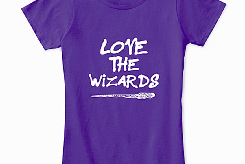 """These """"Love the wizards"""" T-shirts, as well as hoodies, coffee mugs, socks, tote bags and pillows, were created by members of Underworld LARP Cape Breton: Tempest Grove, a local live-action role-playing group. The message, which vandals spray-painted on a bench at the group's rural campsite, has served as a rallying cry for the group, which has items for sale with the censored and uncensored phrase, as well as a """"Love the wizards"""" line, to help pay for improvements to the property."""