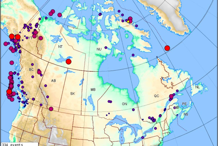 On the Earthquakes Canada website, maps show all earthquakes in Canada in the last 30 days. This is from November 30, 2017. Submitted photo.
