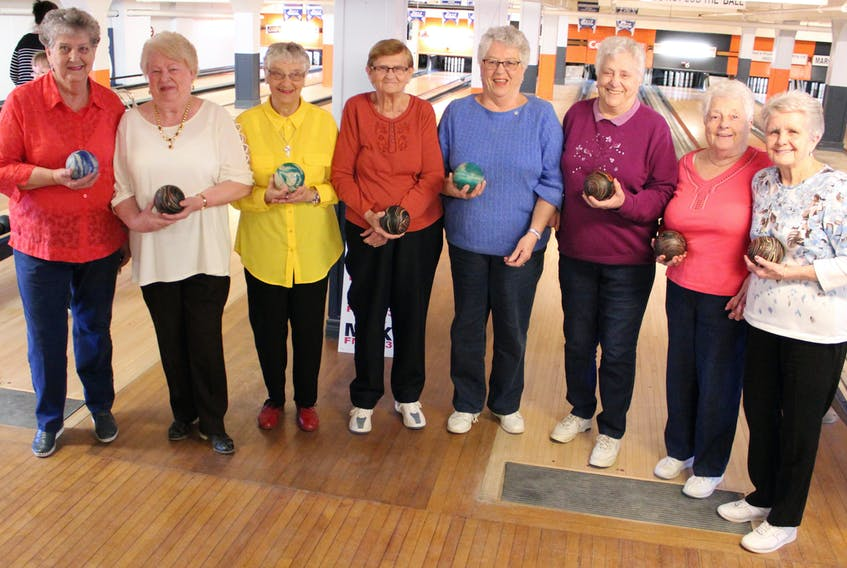"""The """"over 80 club"""" at the Glace Bay Bowling League say they love to hit the lanes for the exercise and the social interaction. All nine of them encourage other seniors to take up the sport as a way to get out with friends, meet new people and stretch your muscles. From left, Lima McVeigh, Shirley Miller, Milley Quann, Rodena (Sis) Spencer, Elsie Ellsworth, Rose Budge, Ruth Petrie and Norma Brufatto."""