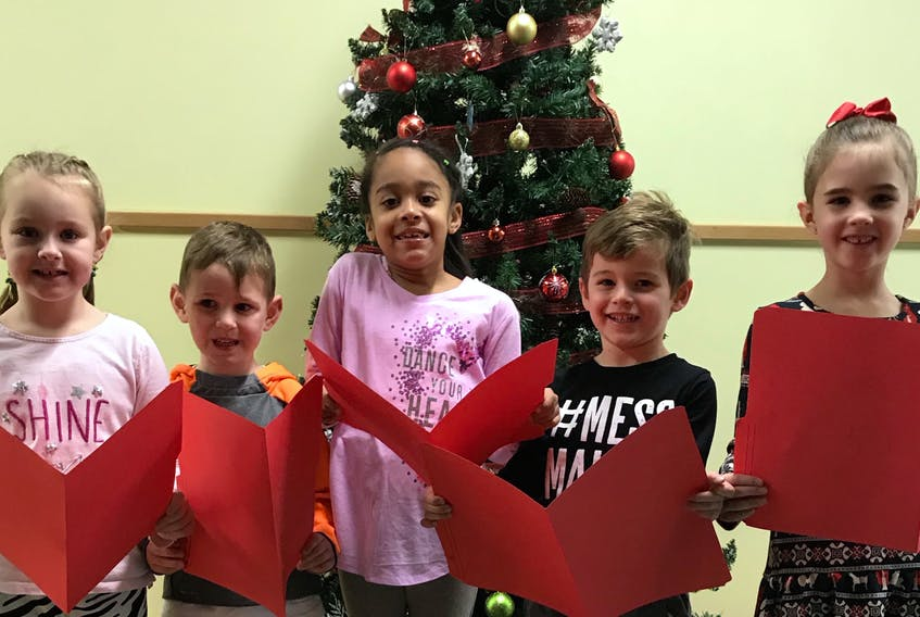 L-R, Martina Black, Grade 1; Evan Murray, Grade primary; Kiana MacDonald, Grade 2; Jonah Surette,  Grade Primary and Maya Munroe-Oliver, Grade 1.