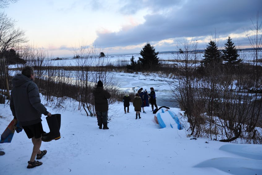 People are seen venturing into frigid waters as part of the 11th annual New Year's Levee.