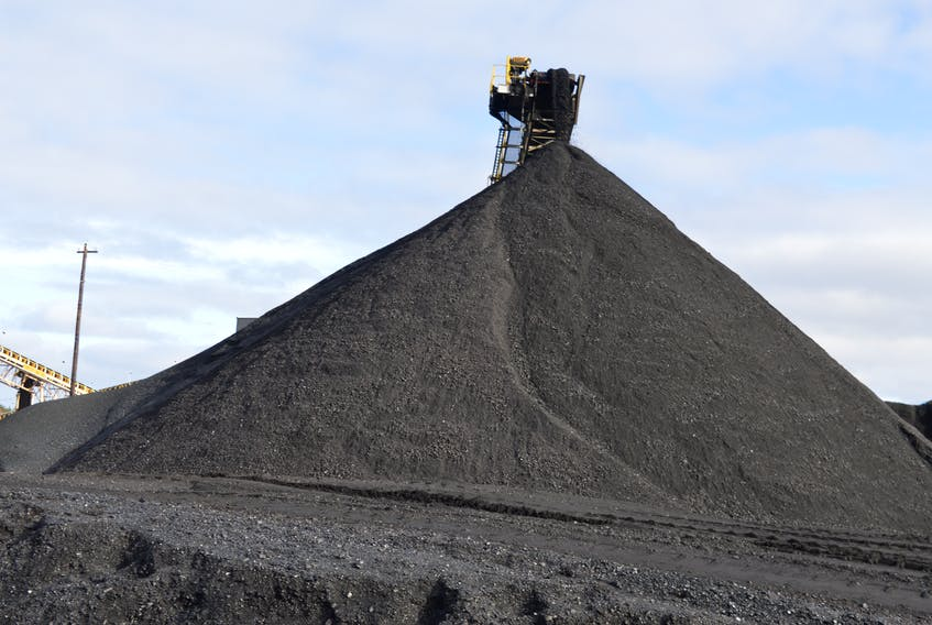 A pile of coal at Donkin Mine in this Cape Breton Post file photo. The coal mine remains under a limited mining operation order pending the approval of a ground control plan, as a result of a roof collapse in the mine on Dec. 28.