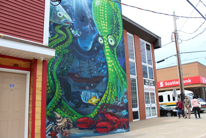 A mural depicting an underwater scene designed by muralist Allan Ryan of North Sydney in 2017 is shown at 270 Charlotte St. in Sydney. It was one of the initiatives of the downtown Sydney regeneration pilot program that was an attempt to bring new life into the area. The pilot program will end with the completion of two final projects later this summer.