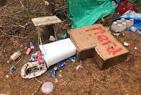 Shown here is some of the damage and graffiti left by vandals recently at the Gillis Lake site of the Underworld LARP Cape Breton Tempest Grove chapter.