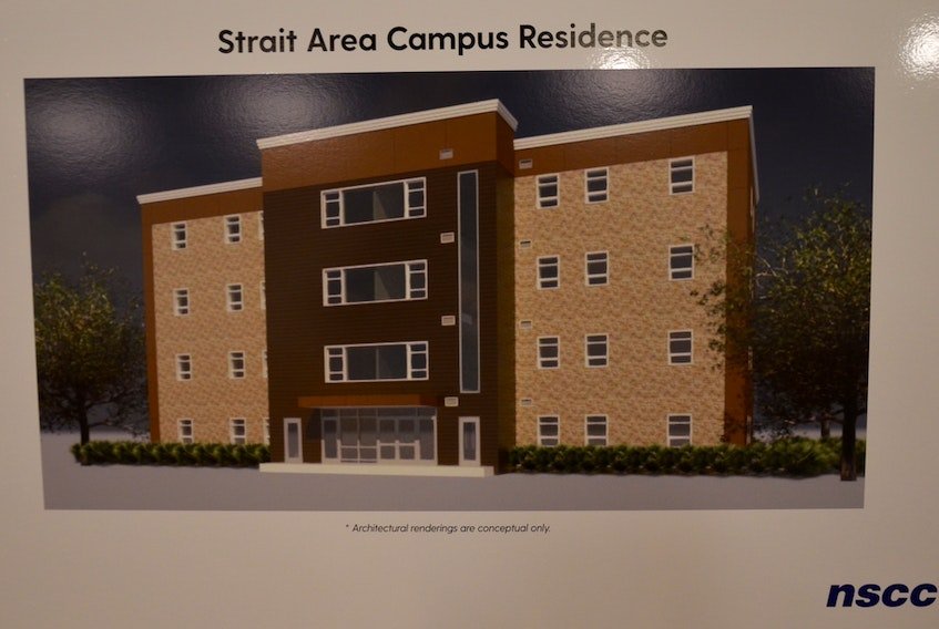 This is an artist's' rendition of the proposed $7-million, 51-bed residence for Nova Scotia Community College's Strait Area Campus announced by the province on Monday.