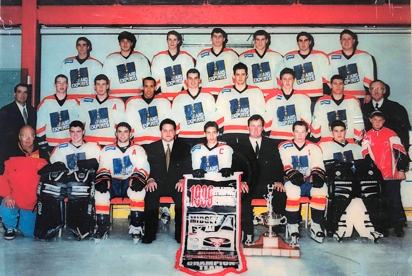 The Cape Breton Jeans Experts captured the 1999 Atlantic major midget hockey championship, defeating the Dartmouth Subways 4-3 in overtime in the championship game at the Dartmouth Sportsplex on April 4, 1999. The team went on to represent Atlantic Canada at the Air Canada Cup in Prince Albert, Sask. This year marks the 20th anniversary of the Atlantic championship win. Team members, not in order, include David Pitcher, Mike Johnston, Jason Snow, David George, Ryan MacPherson, Jonathan Wheelhouse, Richard Tubrett, Scott Clarke, Scott Gouthro, Brian Burton, Jonathan White, Jonathan LeLievre, Aaron Rice, Chad Warren, Norman Doucette, Robert Dickson, Matt Payne, Rick Jones and Joël Boissonneault. Team staff: Paul Coleman (head coach), John Pierre (assistant coach), Dave Ferguson (assistant coach), Vic Gouthro (president), Charlie Racki (trainer) and Stephen Coleman (stick boy).