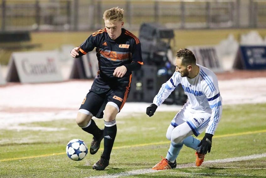 Cape Breton University men's soccer player Charlie Waters is shown in action on Thursday, Nov. 9, 2017 during the national championship at Kamloops, B.C.