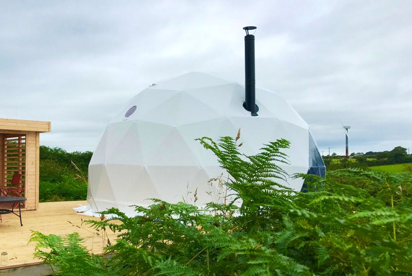 Images from F. Domes company website show the type and style of geodesic domes that Dartmouth resident Scott Archer plans to erect in Judique, Inverness Co., as he readies his new business, Archer's Edge Luxury Camping Inc.