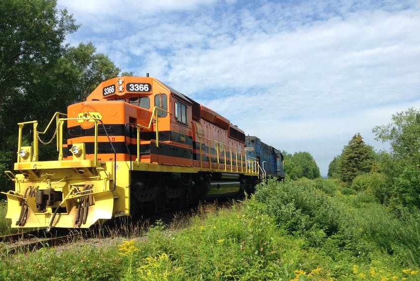 This file photo from 2015 shows one of the last trains to operate on the Cape Breton and Central Nova Scotia rail line from St. Peter's to Sydney.