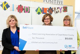 A Bell Let's Talk $10,000 grant was presented Nov. 8 to the Adult Learning Association of Cape Breton County. From left, Judy McMullin, client executive, Bell Business Markets, Karen Blair, executive director, Adult Learning Association of Cape Breton County, and Deborah Campbell Ryan, vice-chair, the association's board of directors.