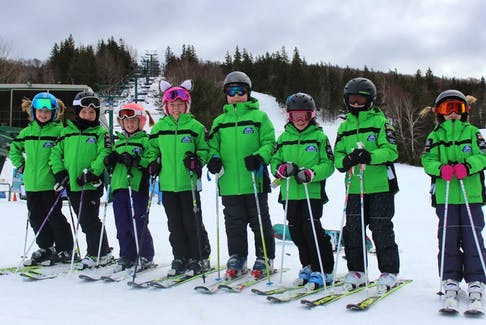 Members of the Ben Eoin Ski Team get ready to hit the slopes for their first weekend of training on Jan. 6 at Ski Ben Eoin. From left are Lauren Kaiser, Maggie MacDonald, Zoe Wilson, Anna Kaupp, Maxwell MacKeigan, Karley Lawless and Lexi Ranni.