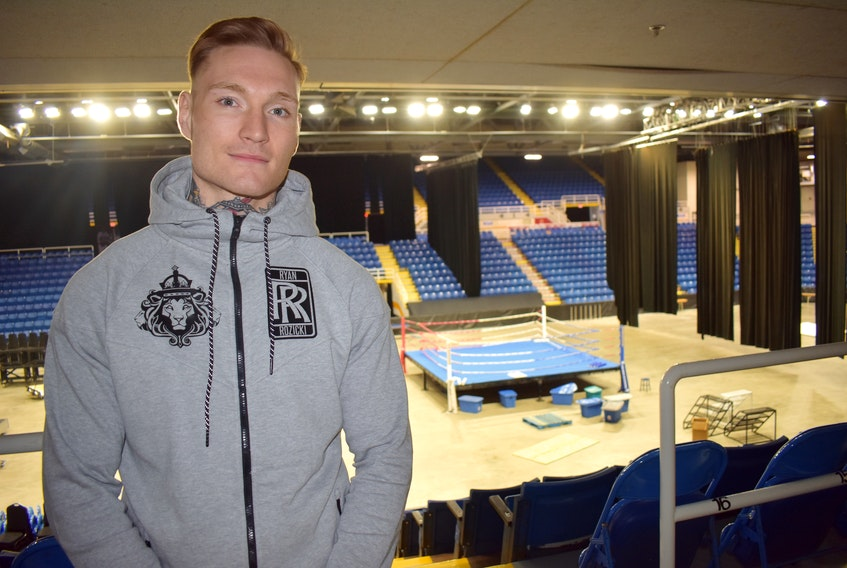 Ryan (the Bruiser) Rozicki is pictured in the stands overlooking the ring at Centre 200 on Wednesday. The Sydney Forks boxer will step in that very ring Saturday when he faces Shawn (the Killer) Miller for the WBC International Silver cruiserweight championship. The fights begin at 7 p.m.