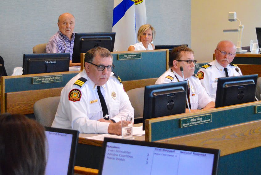 The CBRM's fire and emergency services committee met Tuesday afternoon at city hall to discuss a number of pertinent issues such as the hunt for a new chief and the strained relations between the service's management and its firefighters. Clockwise from top left: committee chair and deputy mayor Ivan Doncaster, chief administrative officer Marie Walsh, deputy fire chief Gilbert MacIntyre, deputy fire chief Chris March and emergency management manager John Dilny.