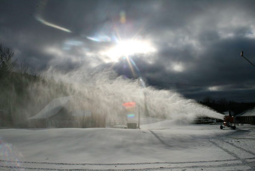 Pieces of snow making equipment at Ski Ben Eoin are shown in action. The ski facility could open for the new season as early as Friday if weather co-operates.