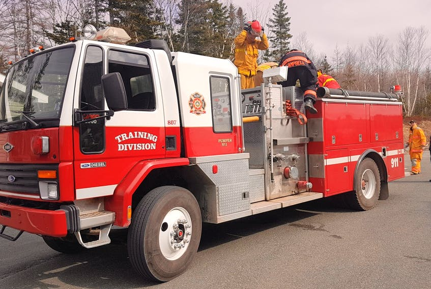 This pumper truck was used by the South Bar Volunteer Fire Department as recently as last year, but it was retired after more than 25 years of service and is now utilized by the Training Division of the Cape Breton Regional Fire Service. It is based at the Grand Lake Road Station.