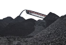 A mountain of coal is seen at the Donkin Mine last fall.