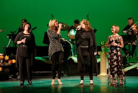 """Shown here are members of the """"Island Girls"""" cast performing at the Savoy Theatre last fall. Shown from left to right are, Lucy MacNeil, Jenn Sheppard, Bette MacDonald and Heather Rankin."""