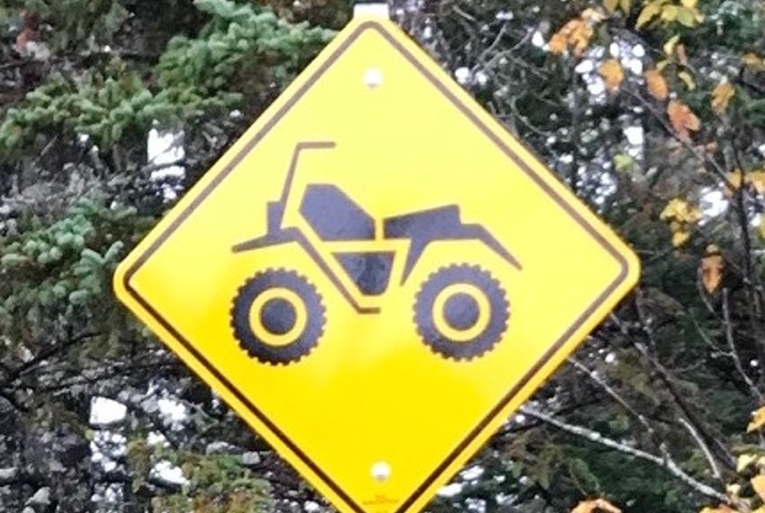 This sign indicates the only section of highway/roadway in Cape Breton where ATV Traffic is legally permitted to ride on a three-kilometre stretch of highway, which is in the Gabarus area starting at the Oceanview Road and extending down the highway to the Mohawk Lake Forestry Road system.